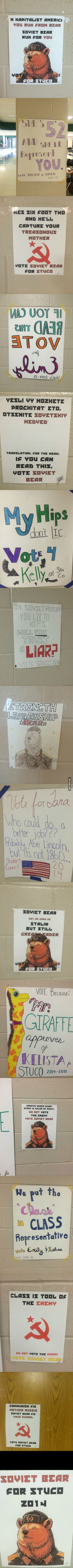 So my school is holding elections for student council... and someone has decided to run as Soviet Bear