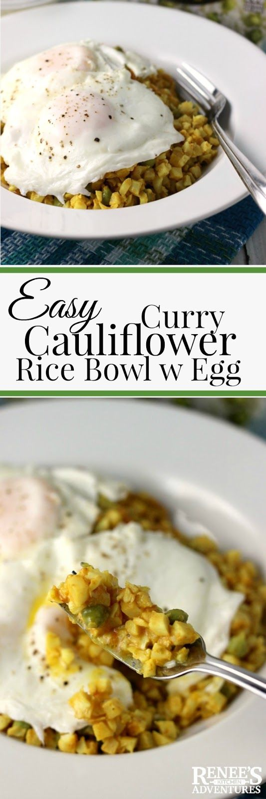 Easy Curry Cauliflower Rice Bowl with Egg   Renee's Kitchen Adventures - easy, healthy recipe for a veggie bowl topped with eggs perfect for breakfast, lunch, dinner or snack! #SundaySupper #Nourish2Flourish @veggiesmadeeasy