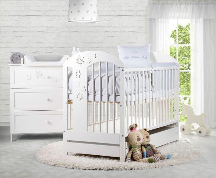 Babybett RADEK VII 120x60 Weiß Kinderbett Gitterbett Schublade Babyzimmer