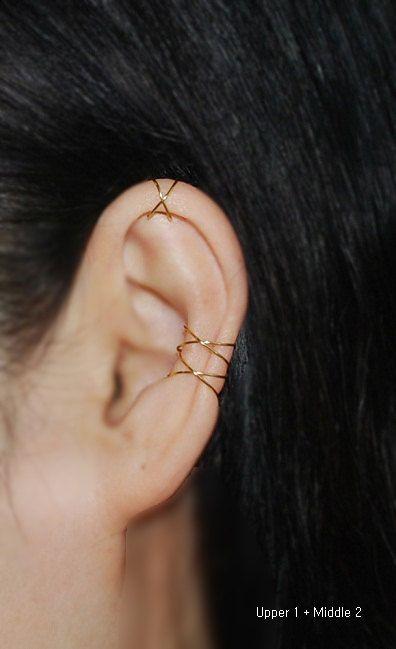 Ear cuff,Best Selling Item,Trending Item,16K gold dipped Twins X ear cuff,No Piercing Cartilage Ear Cuff, Ear Jacket, Ear Wrap