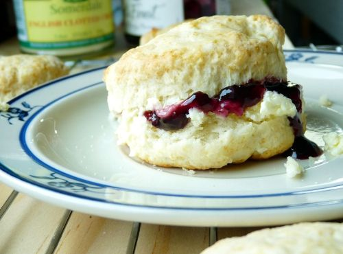 One of the best things in life: tender scones with clotted cream and jam.    Eating for England