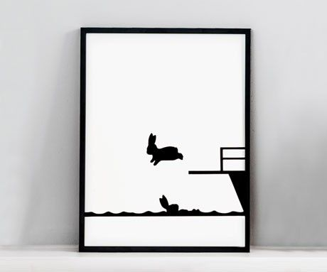 Diving Rabbit Print - HAM is the creation of London based designer Jo Robinson. Her bold designs capture unexpected moments from the contented lives of a pig, a horse and a playful rabbit.