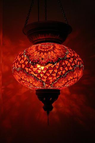 Orange Floral Turkish Mosaic Lantern