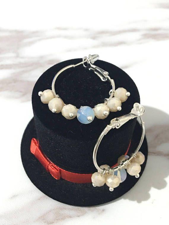 Beautiful hoop earrings beaded with glass crystal beads