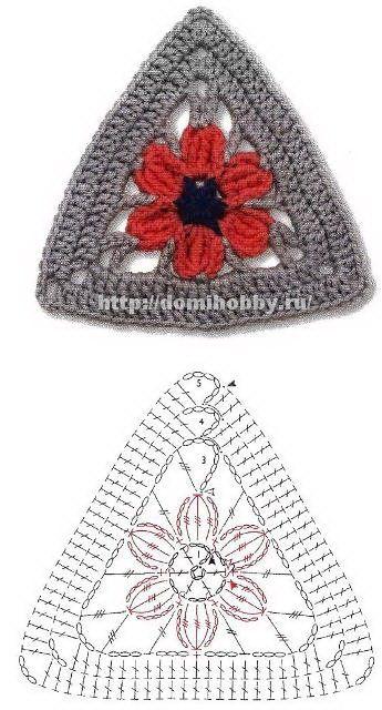 Crochet granny triangle. I like that flower better than the plain open weave.... *hm* :D