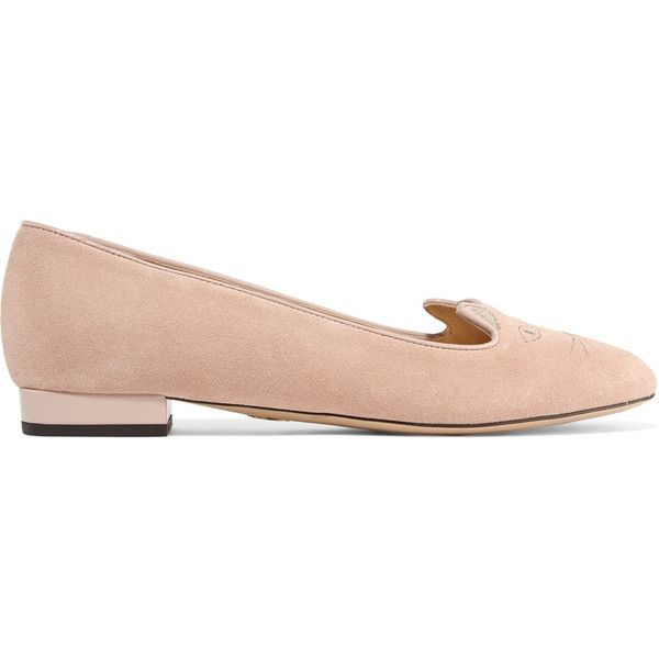 Charlotte Olympia - Kitty Embellished Suede Ballet Flats (5,675 MXN) ❤ liked on Polyvore featuring shoes, flats, pink, pink flats, pink ballet flats, slip-on shoes, embellished ballet flats and flat shoes