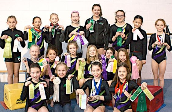 Campbell River Gymnastics Association athletes in Port Alberni included, back left, Ksenia Stansell, Tyza Skuse, Kayla Glover, Brianna Pollock, Rebecca Revoy, Leah Anderson, Isabella Michael and Ellie Anderson. Middle left, Janae McPherson, Kaitlyn Beaulieu, Claire Pollock, Kate Stewart, Jordan Loock and Ava Lee. Front left, Michaela Pontious, Hannah Sommer, Shae Bridgen and Jadea Wilson.