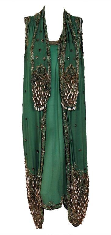 Evening Dress: ca. 1920's, beaded chiffon & metallic lace.
