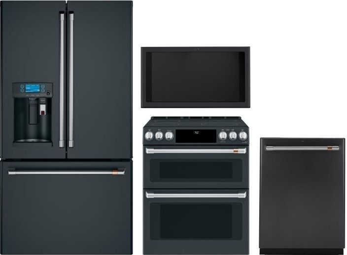 Cafe 4 Piece Kitchen Appliances Package With French Door