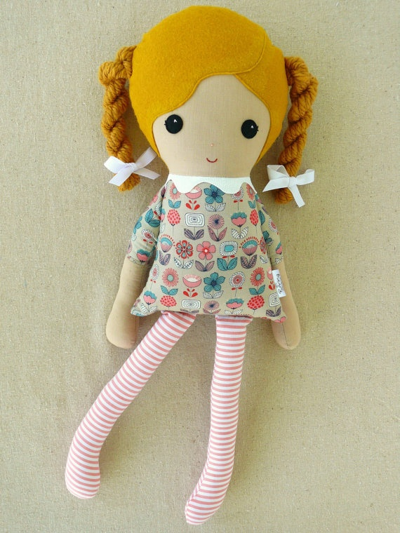 Fabric Doll Rag Doll Girl in Golden Braids