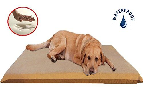 Beige Color 47X29X4 Orthopedic Waterproof Memory Foam Pet Bed Pad for Extra Large dog crate size 48X30 with 2 external covers *** Continue to the product at the image link.
