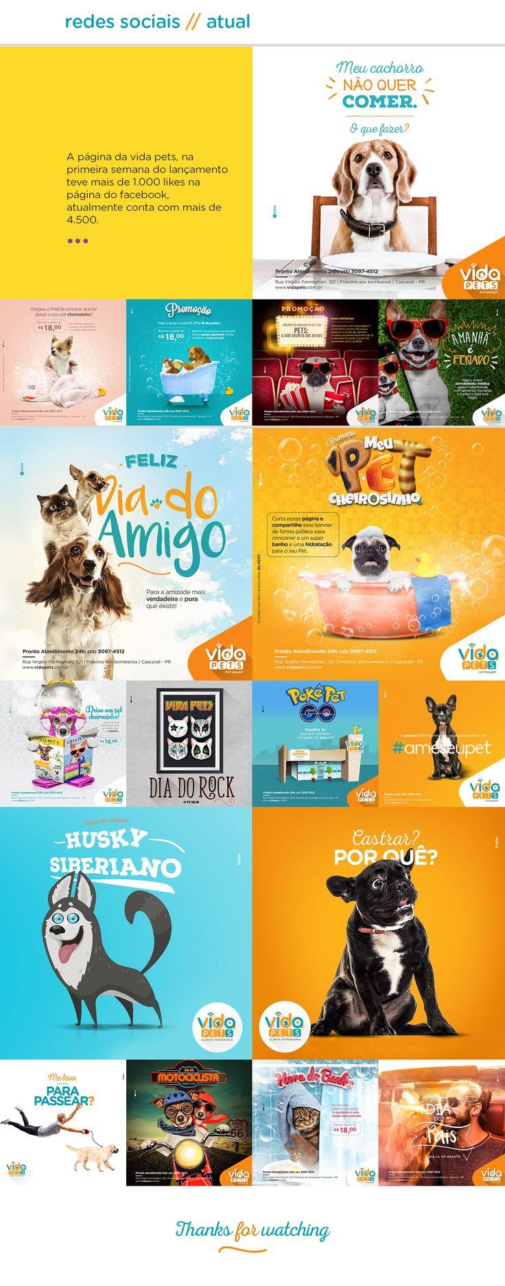 Projeto completo de identidade visual da Clínica Veterinária Vida Pets, clínica localizada em Cascavel, PR.