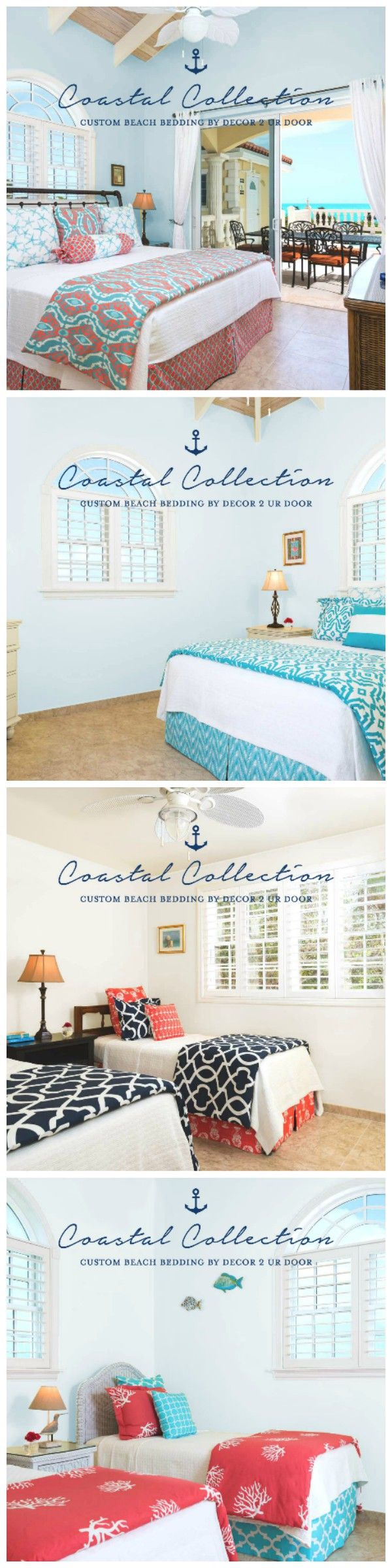 Coastal bedding and décor. Decorating a beach home or beach condo? Nautical and coastal fabrics and patterns will bring the ocean to you. Custom made bedding and accessories for your beach house. Available in all bed sizes.