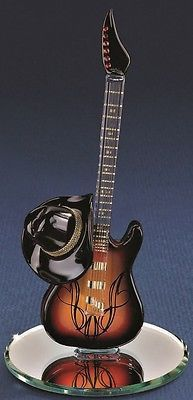 """Glass Baron ~ Country Guitar with Cowboy Hat ~ 22kt gold accents ~ 6"""" tall ~ NIB"""