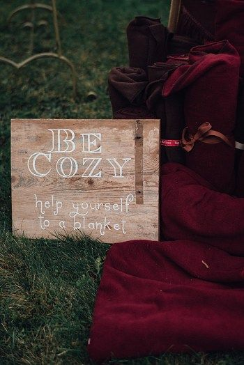 Guest Blankets for chilly a fall wedding | Late Fall Vermont Mountain Wedding At Amee Farm By Love Perry Photography via MountainsideBride.com
