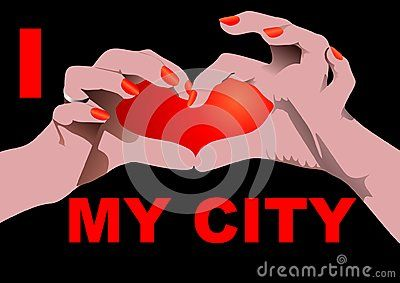 I love my City isolated on black with Heart shaped hand position.  Vector illustration.