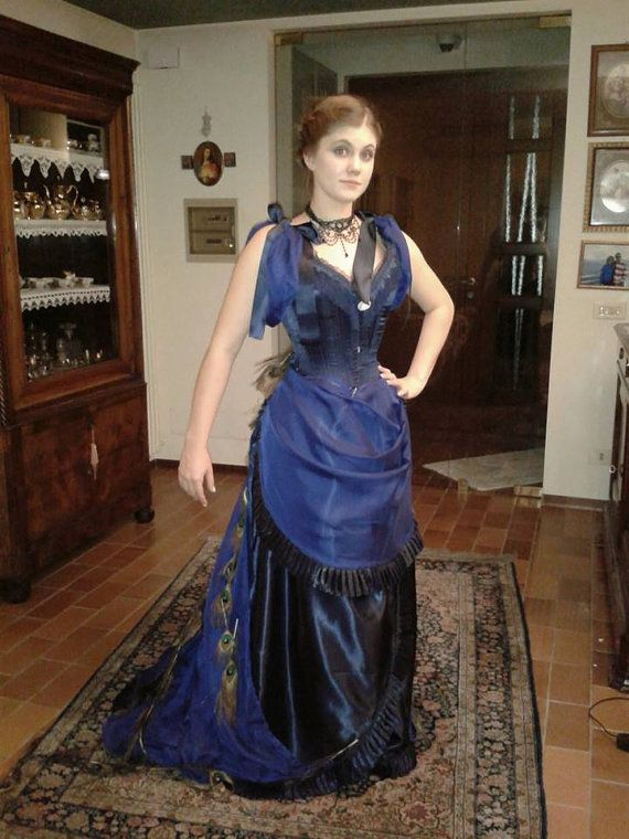 Victorian Inspired Peacock Dress Victorian Clothing Victorian Steampunk Fashion Dresses