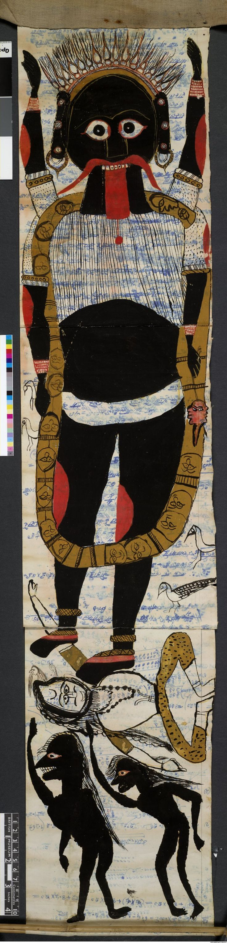 Pata, scroll. General subject - deity, dance, figure. 1 register;Kali dancing on Siva;ghoulish figures below. Painted in water-colour on paper (re-used).