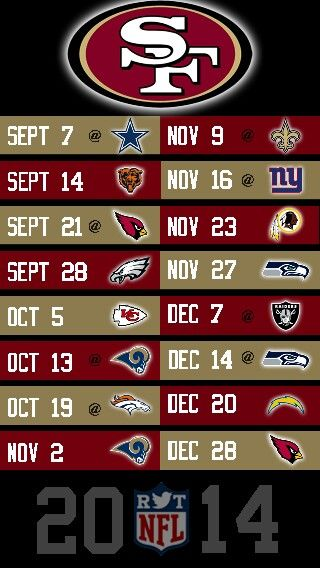 NFL 2014 SAN FRANCISCO FORTY NINERS IPHONE 5 WALLPAPER SCHEDULE.