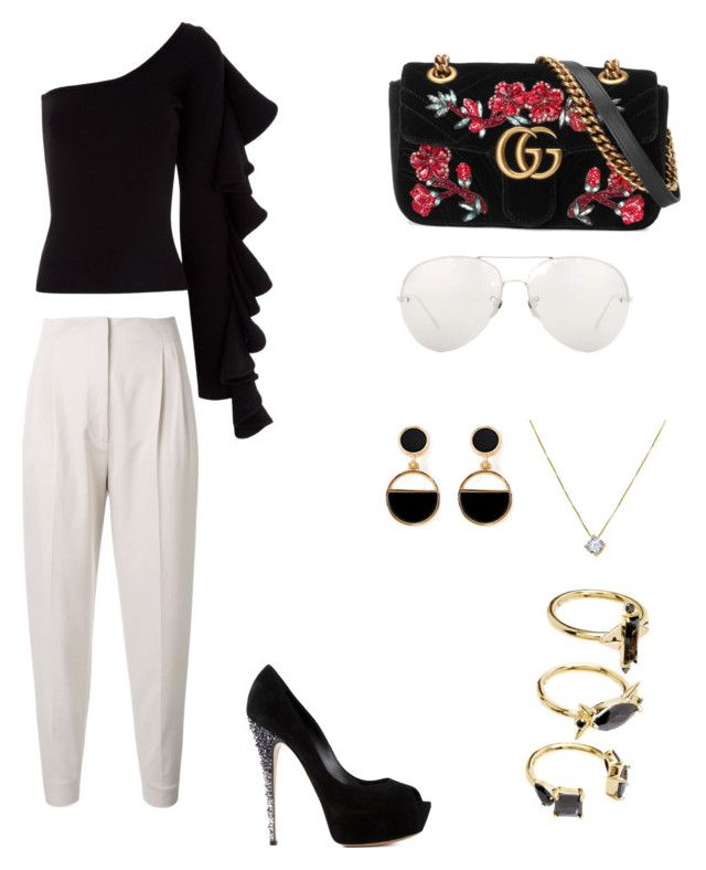 """Black and withe"" by maleja-castro-torres on Polyvore featuring moda, Beaufille, MaxMara, Casadei, Gucci, Linda Farrow, Warehouse y Noir Jewelry"