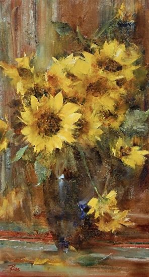 Sunflowers by Laura Robb Oil ~ 20 x 11