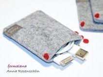 grau Hülle Tasche Etui Punkt rot Filz Kabel Design
