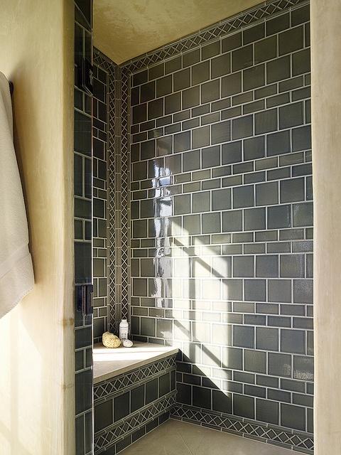 shower; love the tile work!