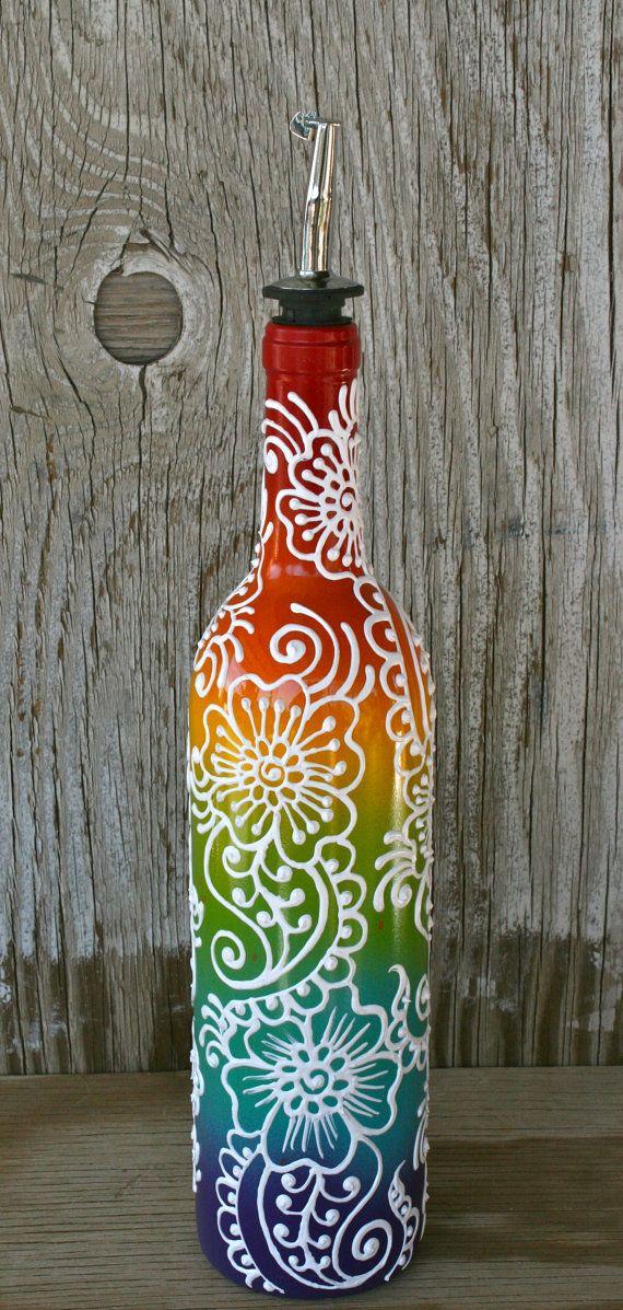 Arco iris de aceite de oliva o vinagre dispensador de botella de vino re-purposed  ¡¡Hola!! TENGA EN CUENTA QUE TODOS LOS ARTÍCULOS EN MI TIENDA