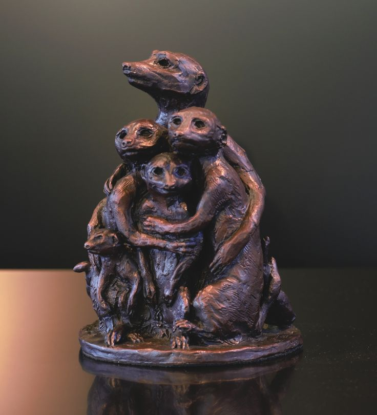 Family Unity - Bronze Sculpture of a meercat family by Bruce Little