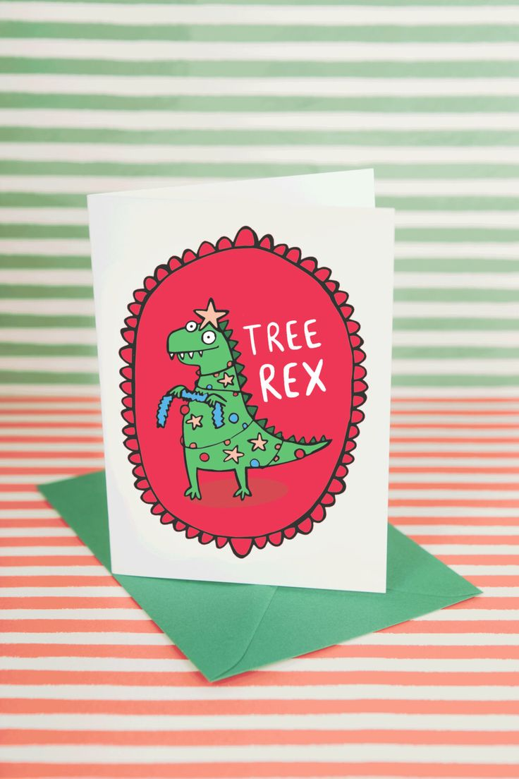 Christmas Dinosaur card - Tree Rex - Greeting Card - Funny Christmas card - Pun card by KatieAbeyDesign on Etsy https://www.etsy.com/listing/457710910/christmas-dinosaur-card-tree-rex