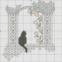 Blackwork cat - lots of patterns at this site