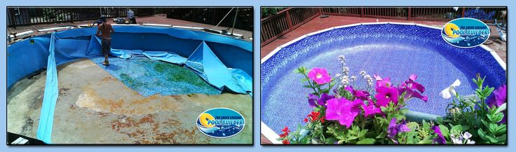 Before and after 24ft round pool liner replacement in Somerset, MA. http://www.abovegroundpoolbuilder.com/above-ground-pool-liners-massachusetts