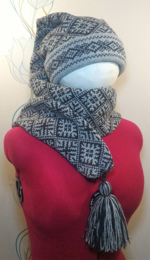 Super Long stocking cap long tail for adult scarf hat by LanaNere