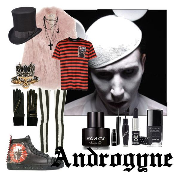 Androgyne by illetilmote on Polyvore featuring Givenchy, Philipp Plein, Scala, Chanel, MAC Cosmetics, Kenneth Cole, Manic Panic NYC, Miu Miu, Off-White and Alexander McQueen