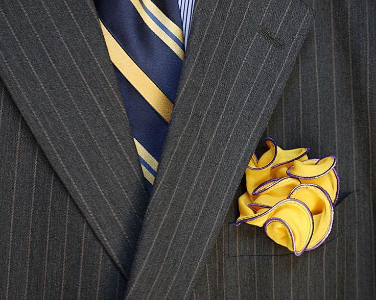 Mens Silk Pocket Square - Yellow bandana by VIDA VIDA mLABm1