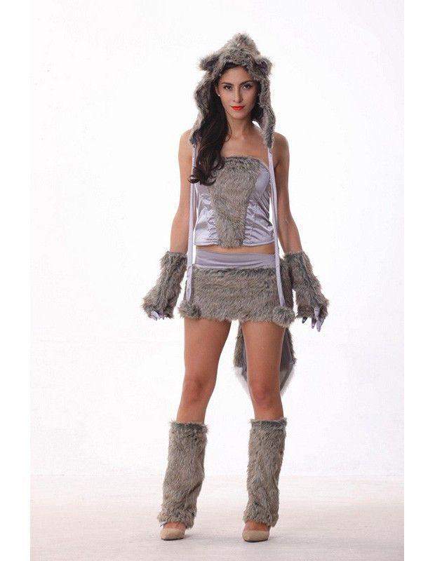 grey wolf furry animal womens halloween costume - Womens Wolf Halloween Costume