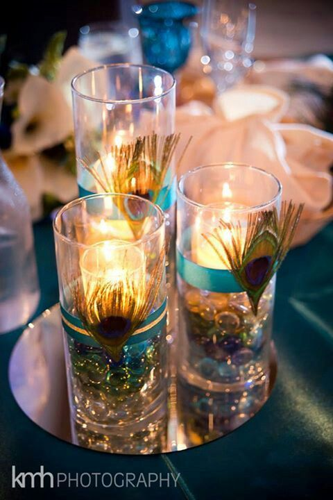peacock centerpieces | Peacock Centerpieces | My Happily Ever After.