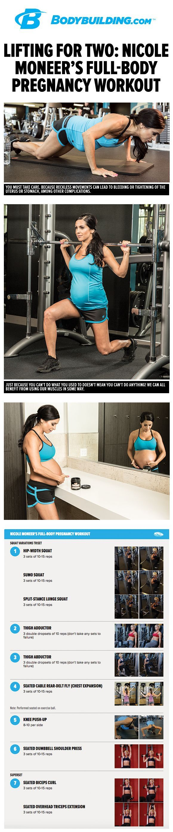 Lifting For Two: Nicole Moneer's Full-Body Pregnancy Workout. The weights don't always have to go back on the rack when you find out you're pregnant. Here's how http://Bodybuilding.com athlete Nicole Moneer modified her workouts and kept training into the third trimester!