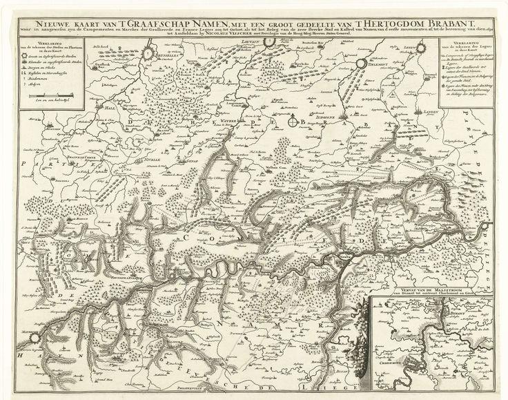 Anonymous | Kaart van het graafschap Namen met de posities van de Geallieerde en Franse legers, 1692, Anonymous, Nicolaes Visscher (II), Staten van Holland en West-Friesland, 1692 | Kaart van het graafschap Namen waarop de posities van de Geallieerde en Franse legers zijn aangegeven, 1692. Rechtsonder een inzet met een kaart van het loopgebied van de Maas onder Dinant.