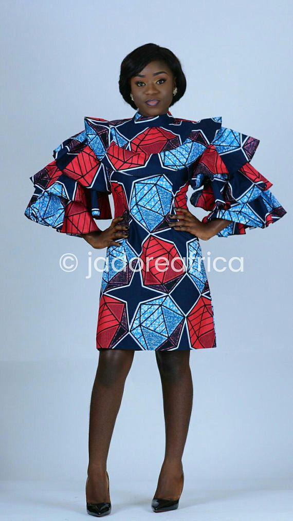 Afrikaanse print mini jurk / Afrikaanse bruiloft jurk /