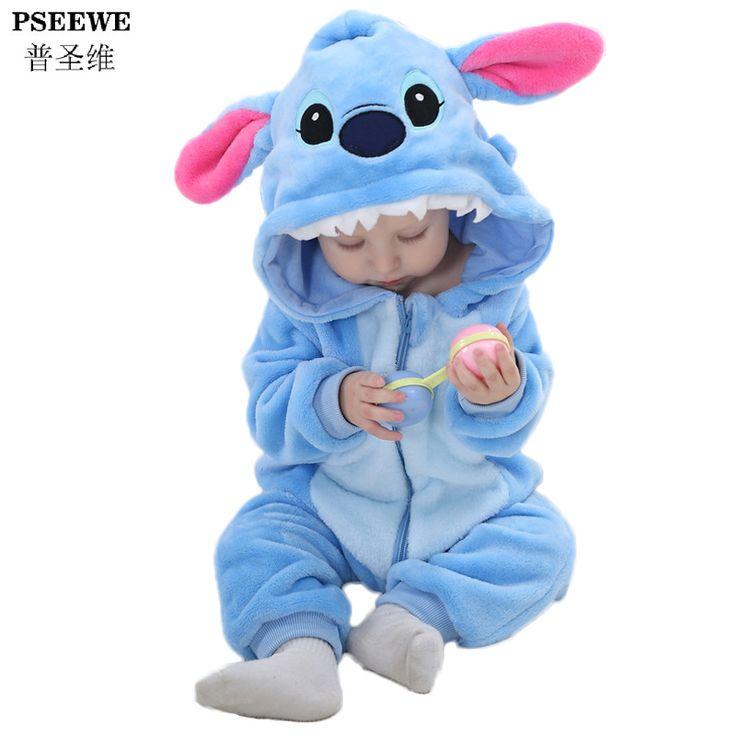 Nieuwjaar Pasgeboren baby rompertjes Winter Flanel Steek Panda Baby boy kleding Jumpsuit kostuum Meisje kostuum animal Rompertjes