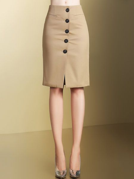 Shop Midi Skirts - Khaki Elegant Buttoned Midi Dress online. Discover unique designers fashion at StyleWe.com.