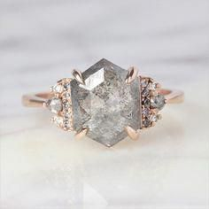 3.27 Carat Hexagon Eleanor Engagement Ring, 14k Rose Gold
