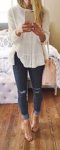 Jeans, cream blouse, cream wedges