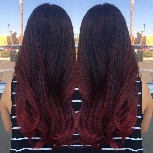 Raspberry balayage ombre by Michelle at Centennial Hills Aveda More