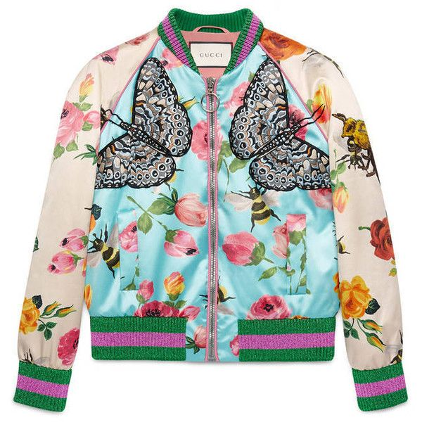 57953e7fa Gucci Rose Print Silk Bomber ($2,900) ❤ liked on Polyvore featuring  outerwear, jackets, tops, bomber jacket, coats, women, ready to wear, r…