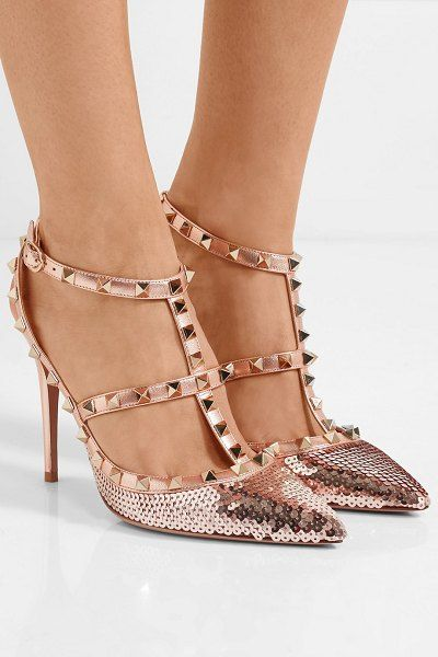 02bf87d8ce7d Valentino valentino garavani the rockstud sequined metallic leather pumps.   valentino  nudeshoes  pumps