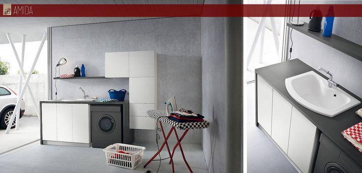 #lavanderia si, ma con stile! Ecco le nuove soluzioni salva-spazio per il #bagno: #lavatrice, #lavatoio e tutto quello che ti serve a portata di mano! solo da Amida!