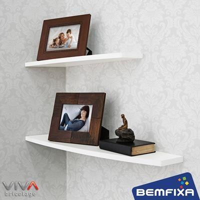 Prateleira Delta - Linha Formato VIVA Bricolage, da Bemfixa. Com suportes invisíveis.