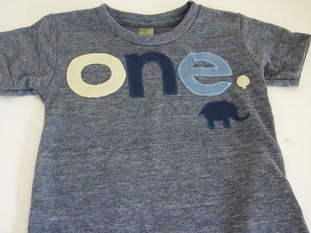 Elephant Birthday shirt light yellow and blue or customize colors Boys Girls Organic Blend Birthday Tee first birthday shirt. $32.00, via Etsy.